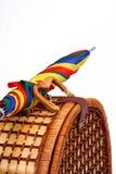 Picnic basket with a colorful umbrella. Wicker basket with a colorful umbrella attached together Stock Photos