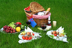 Picnic basket and different food on plates Stock Images