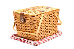 Picnic Basket and Folded Blanket Isolated Royalty Free Stock Images