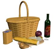 Picnic basket and food Royalty Free Stock Photo