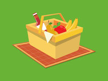 Picnic basket food cartoon vector illustration Royalty Free Stock Photos