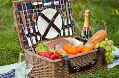 Picnic Basket. A picnic basket with food and champagne at the park Royalty Free Stock Image
