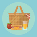 Picnic basket and food flat illustration Royalty Free Stock Photography