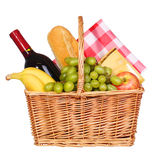 Picnic basket with food isolated. On white Royalty Free Stock Photo
