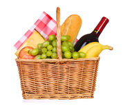 Picnic basket with food isolated Royalty Free Stock Photos