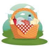 Picnic time design. Picnic basket, food, red gingham cloth over field background. Vector illustration Stock Images