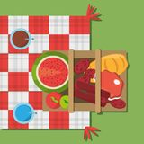 Picnic basket food red and white blanket top view. Vector illustration eps 10 vector illustration