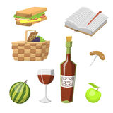 Picnic basket with food relaxation vacation container lunch summer meal vector illustration. Healthy snack outdoor holiday natural ingredients Stock Images