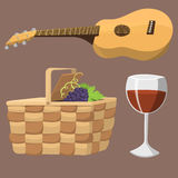 Picnic basket with food relaxation vacation container lunch summer meal vector illustration. Healthy snack outdoor holiday natural ingredients Stock Photo