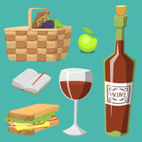 Picnic basket with food relaxation vacation container lunch summer meal vector illustration. Healthy snack outdoor holiday natural ingredients Stock Photography