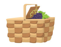 Picnic basket with food relaxation vacation container lunch summer meal vector illustration Royalty Free Stock Photos