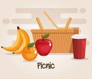Picnic basket with food. Vector illustration design royalty free illustration