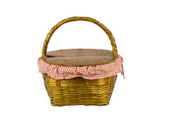 Picnic basket front isolated on white Stock Images