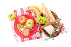 Picnic basket. With fruit and bread Stock Photo