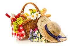 Picnic basket with fruit bread and wine Stock Image
