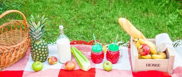 Picnic basket, fruit, juice in small bottles, apples, milk, pineapple summer, rest, plaid, grass Copy space Banner Top view stock photo