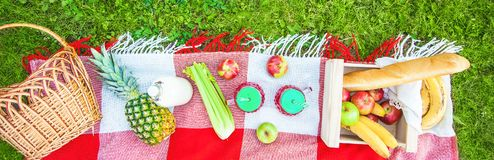 Picnic basket, fruit, juice in small bottles, apples, milk, pineapple summer, rest, plaid, grass Copy space royalty free stock photo