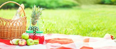 Picnic basket, fruit, juice in small bottles, apples, milk, pineapple summer, rest, plaid, grass Copyspace royalty free stock photo