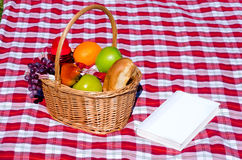 Picnic basket with fruits and book Royalty Free Stock Photos