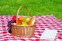 Picnic basket with fruits and book. On the grass background Royalty Free Stock Photo