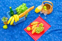 Picnic basket with fruits, bread and bottle of Stock Images