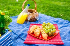 Picnic basket with fruits, bread and bottle of Stock Photography