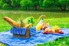 Picnic basket with fruits, bread and bottle of Royalty Free Stock Photos
