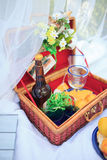 Picnic basket - fruits, bread and wine Royalty Free Stock Photo