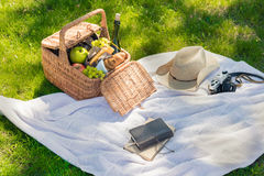 Picnic basket with fruits, cheese and wine bottle, hat, vintage camera and notebook with pencil Royalty Free Stock Photography