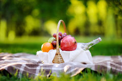 Picnic basket with fruits, food and water in the glass bottle. Outdoors leisure time for kids, family or dating couple. Sunny warm day in the summer park Royalty Free Stock Photos