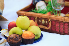 Picnic basket - fruits, muffins Royalty Free Stock Photo