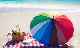 Picnic basket with fruits by the ocean Stock Images