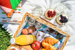 Picnic Basket With Fruits, Orange Juice, Croissants And No Bake Blueberry And Strawberry Cheesecake Stock Photos