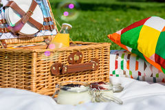 Picnic Basket With Fruits, Orange Juice, Croissants And No Bake Blueberry And Strawberry Cheesecake Stock Images