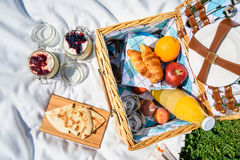 Picnic Basket With Fruits, Orange Juice, Croissants, Quesadilla And No Bake Blueberry And Strawberry Cheesecake Royalty Free Stock Images