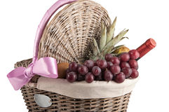 Picnic Basket with Fruits and Wine Royalty Free Stock Photos
