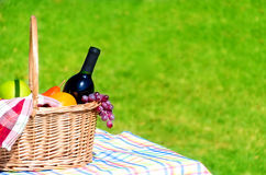 Picnic basket with fruits and wine. On grass background Royalty Free Stock Image
