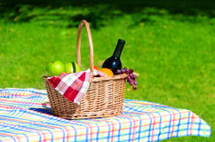 Picnic basket with fruits and wine. On grass background Royalty Free Stock Images