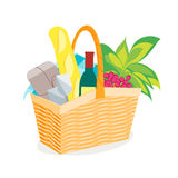 Picnic Basket Full of Food and Wine. Vector Stock Photos