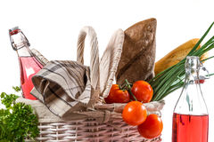 Picnic basket full of healthy products Stock Image