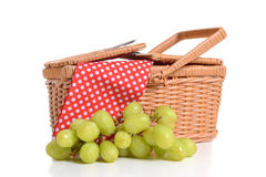 Picnic Basket. And grapes white background Royalty Free Stock Photography