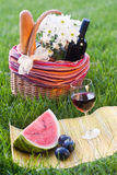 Picnic  basket on the grass. Glass of red wine with fruits and picnic basket Royalty Free Stock Photography