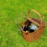 Picnic basket in the grass Stock Photography