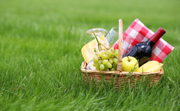 Picnic basket on grass Royalty Free Stock Image