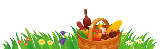 Picnic basket in the grass. Illustration of a picnic basket on a white background Royalty Free Stock Photography