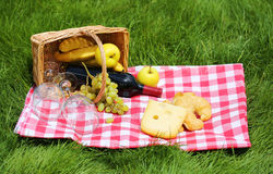 Picnic basket on green grass Stock Images
