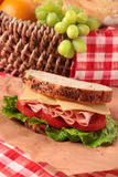 Picnic basket ham and cheese sandwich vertical. Picnic basket ham and cheese sandwich Royalty Free Stock Photo