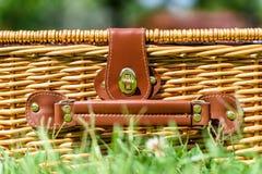 Picnic Basket Hamper In Green Grass Stock Images