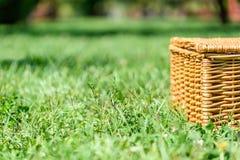 Picnic Basket Hamper In Green Grass Stock Image