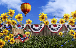 Picnic Basket Hot Air Balloon Royalty Free Stock Image